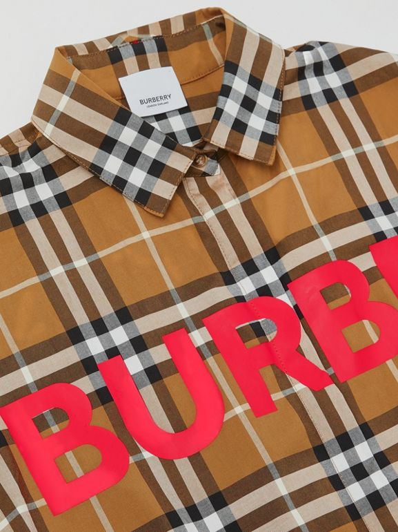 Horseferry Print Check Cotton Shirt Dress in Warm Walnut | Burberry United Kingdom - cell image 1
