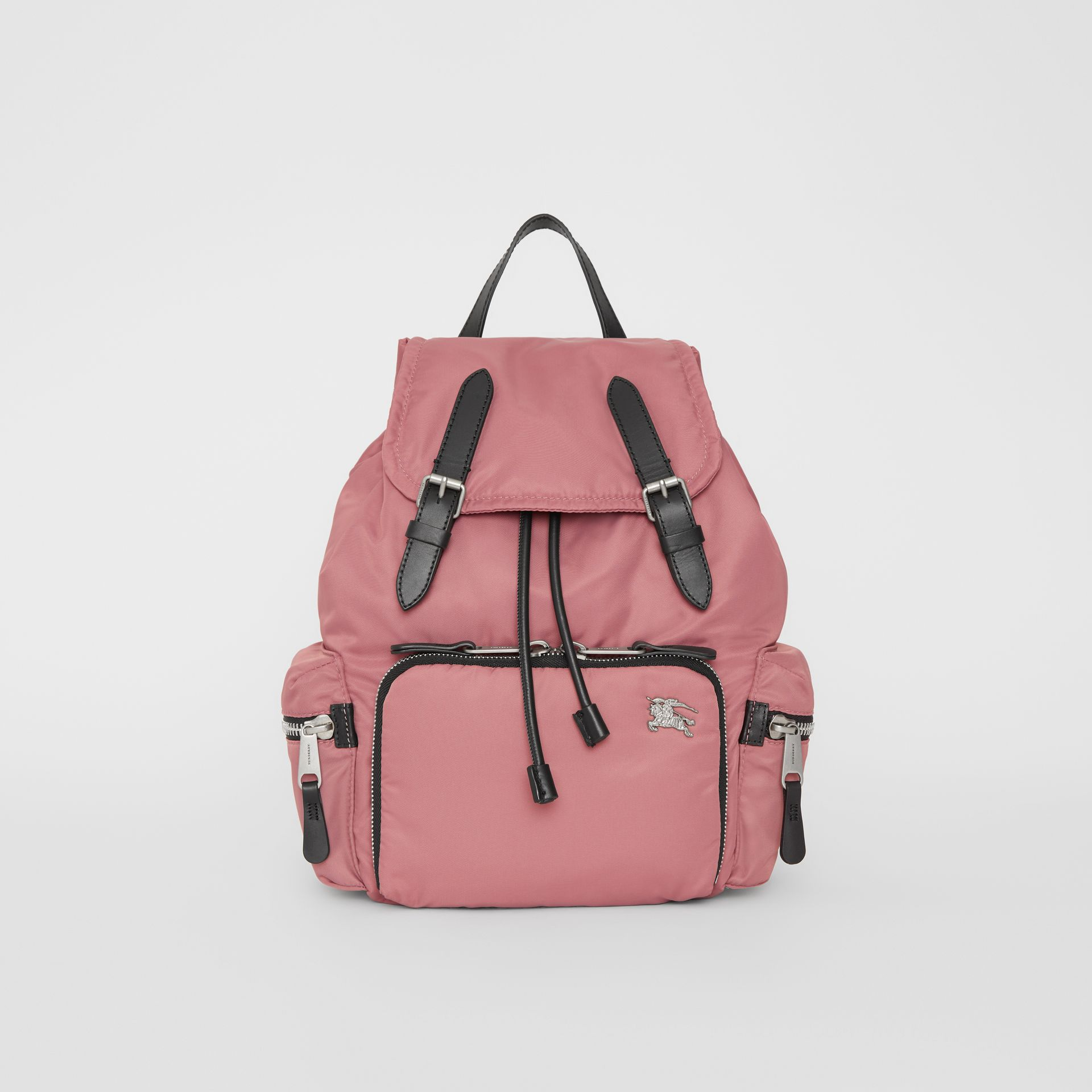 The Medium Rucksack in Puffer Nylon and Leather in Mauve Pink - Women | Burberry - gallery image 0