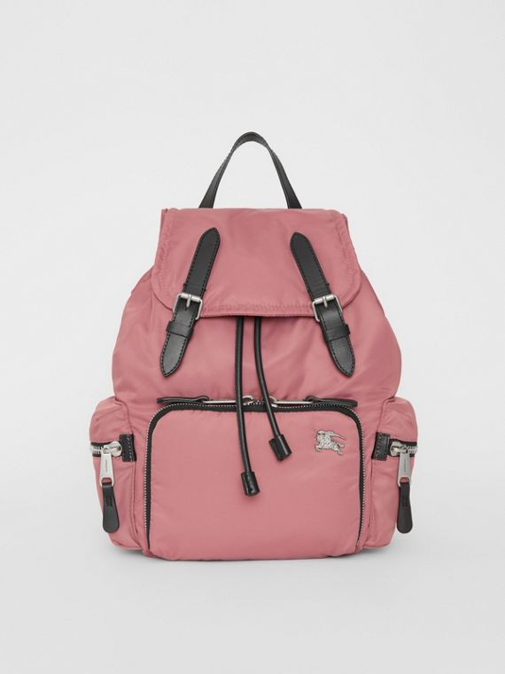 The Medium Rucksack in Puffer Nylon and Leather in Mauve Pink