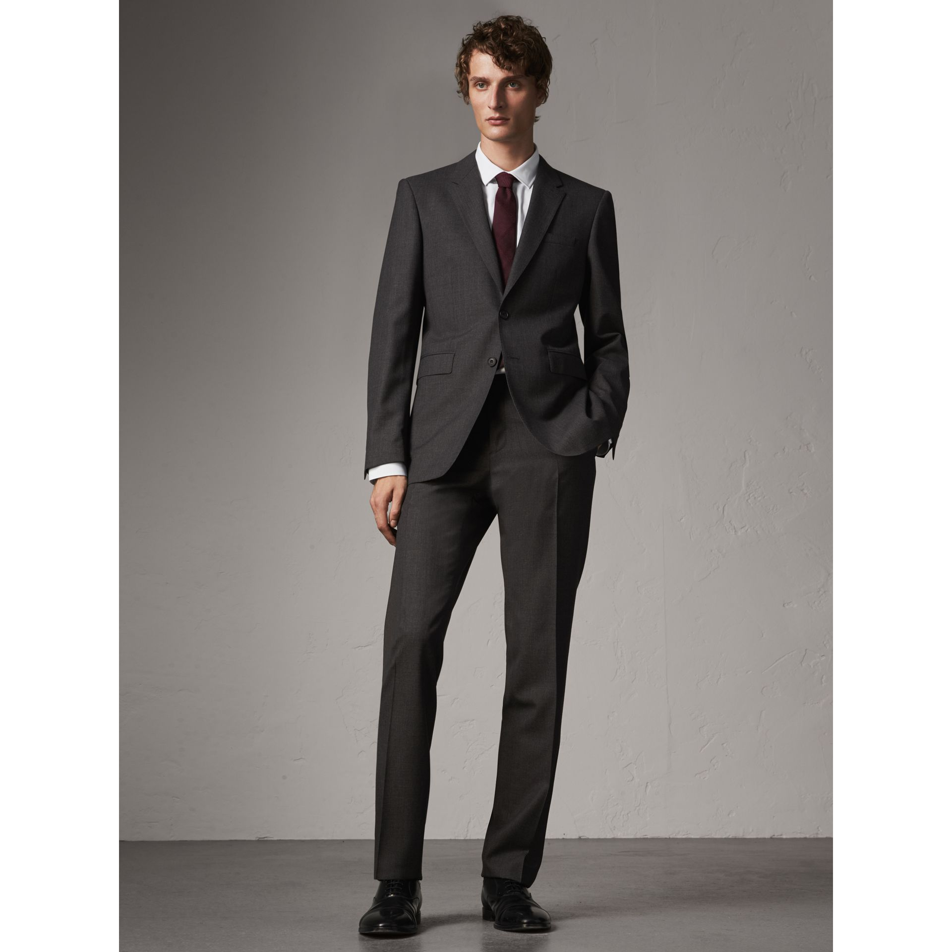 Modern Fit Wool Part-canvas Suit in Charcoal - Men | Burberry United Kingdom - gallery image 1