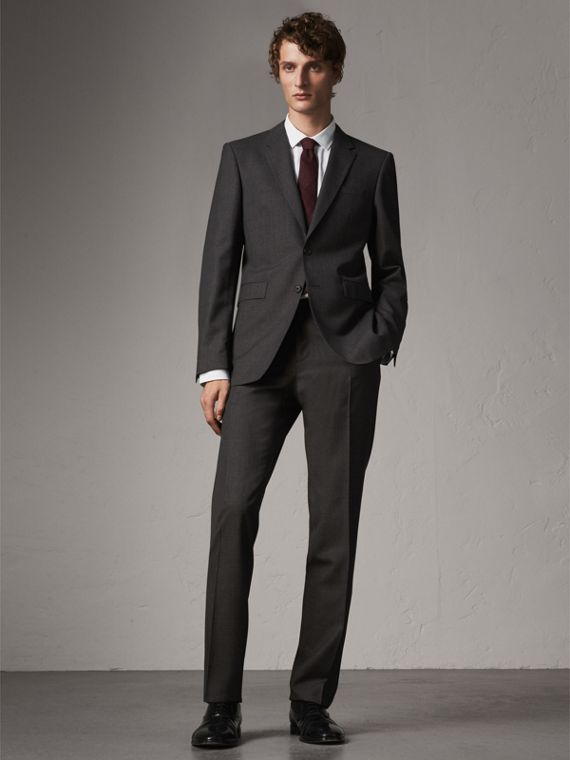 Modern Fit Wool Part-canvas Suit in Charcoal