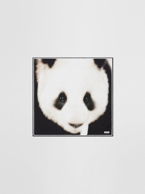 Panda Print Silk Small Square Scarf in White