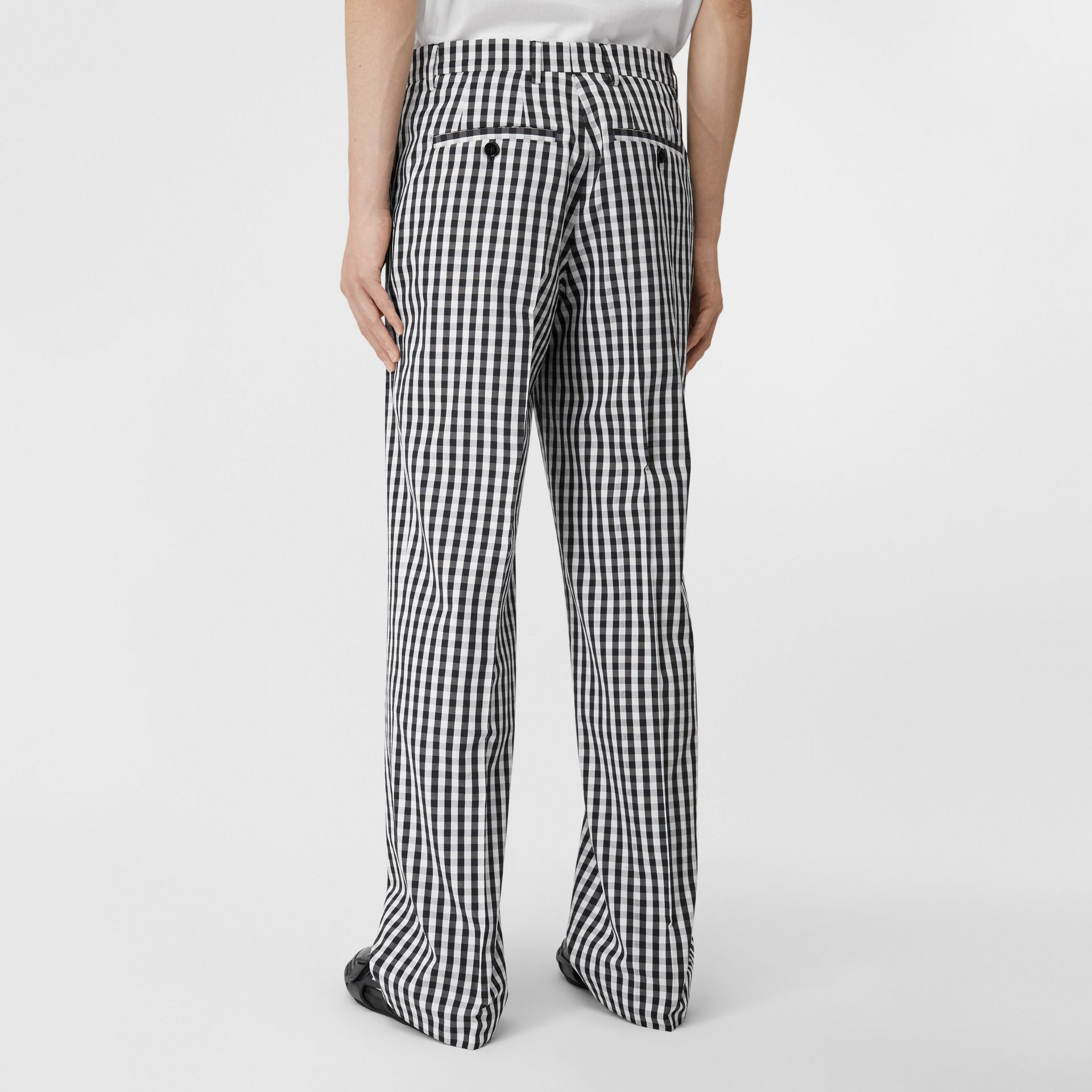 Gingham Technical Wool Wide-leg Tailored Trousers in Black | Burberry Australia - gallery image 2