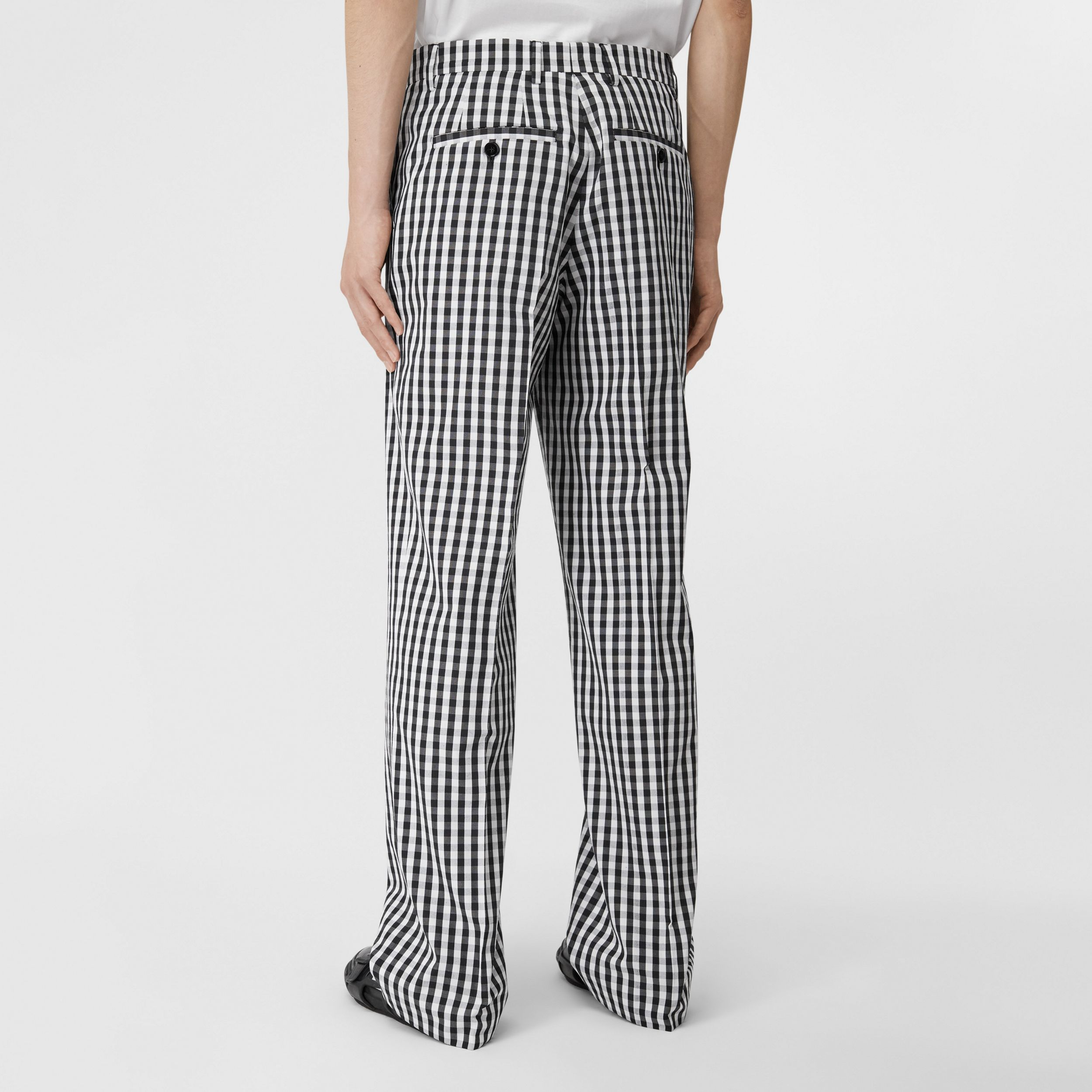 Gingham Technical Wool Wide-leg Tailored Trousers in Black - Men | Burberry Singapore - 3