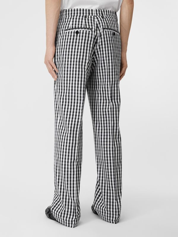 Gingham Technical Wool Wide-leg Tailored Trousers in Black | Burberry Australia - cell image 2