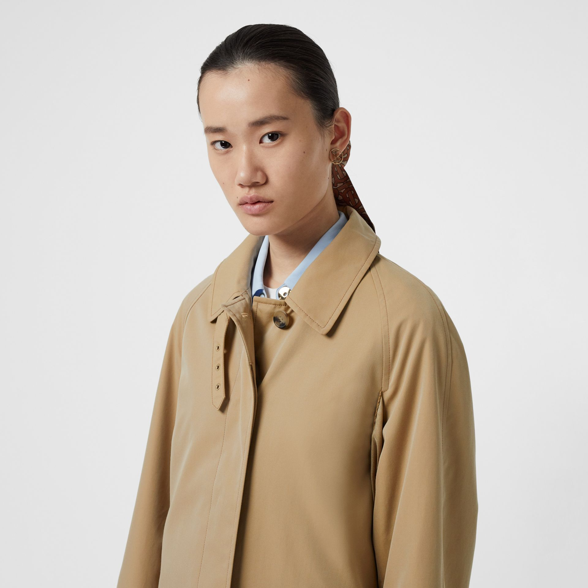 Monogram Print Silk Panel Cotton Car Coat in Pale Honey - Women | Burberry - gallery image 7