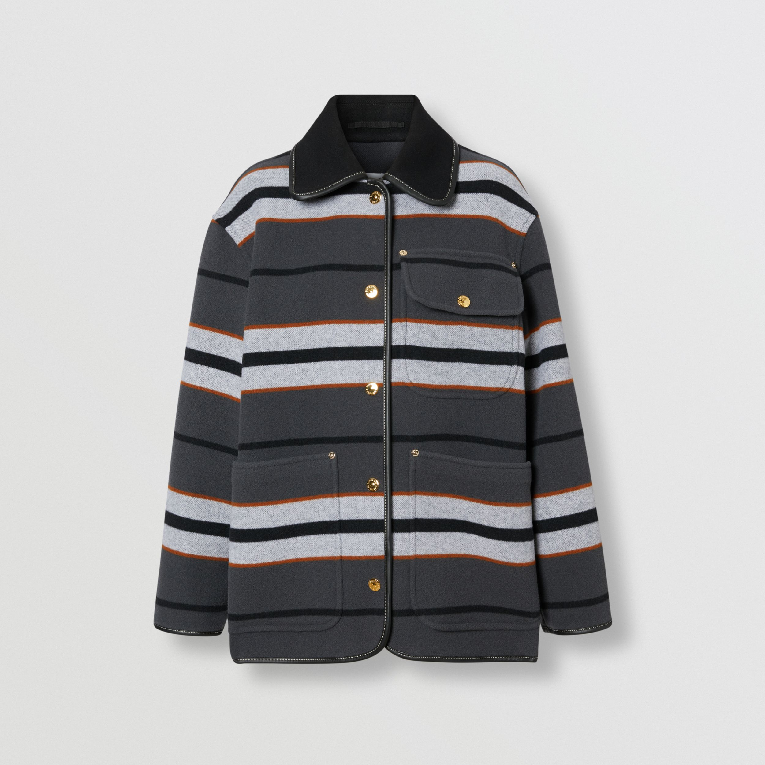 Lambskin Trim Stripe Intarsia Wool Barn Jacket in Mid Grey - Women | Burberry Hong Kong S.A.R. - 4