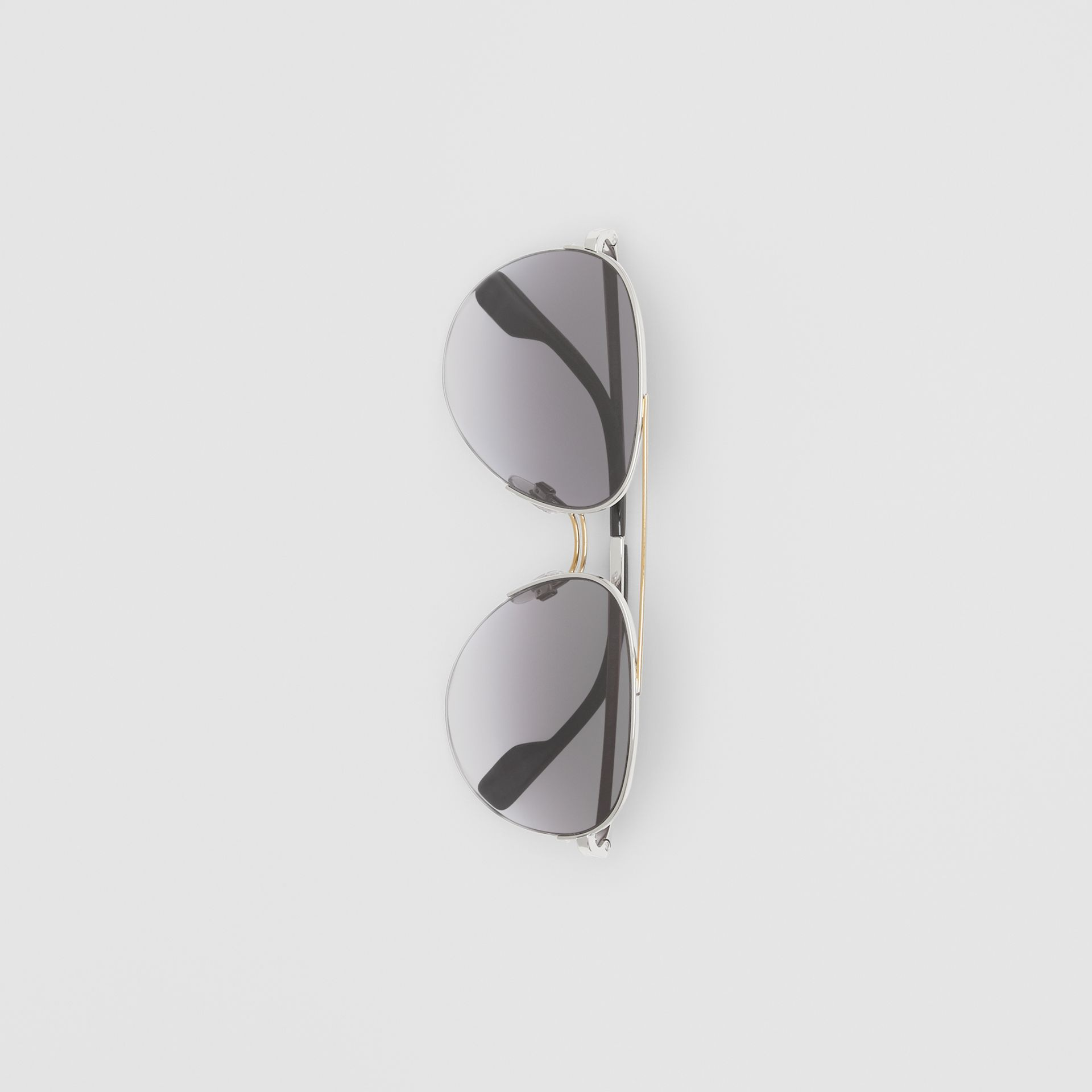 Top Bar Detail Pilot Sunglasses in Dark Grey - Women | Burberry - gallery image 3