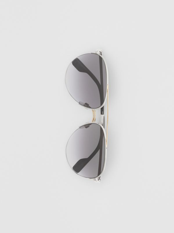 Top Bar Detail Pilot Sunglasses in Dark Grey - Women | Burberry - cell image 3