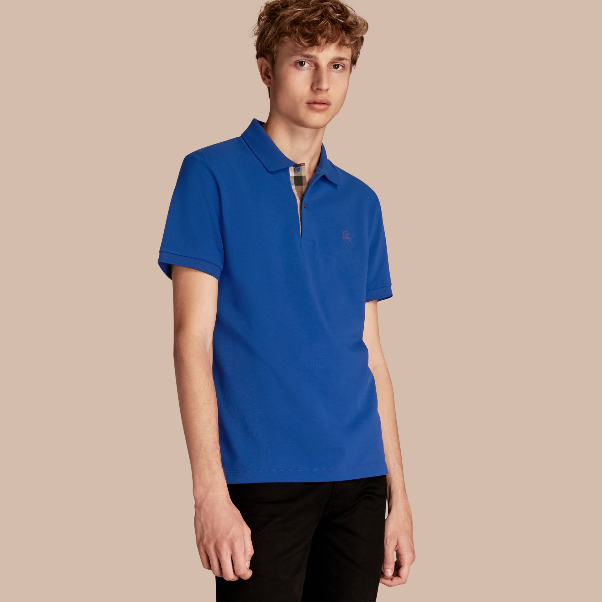 Check Placket Cotton Piqué Polo Shirt in Brilliant Blue - gallery image 1