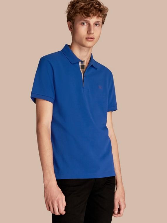 Check Placket Cotton Piqué Polo Shirt Brilliant Blue