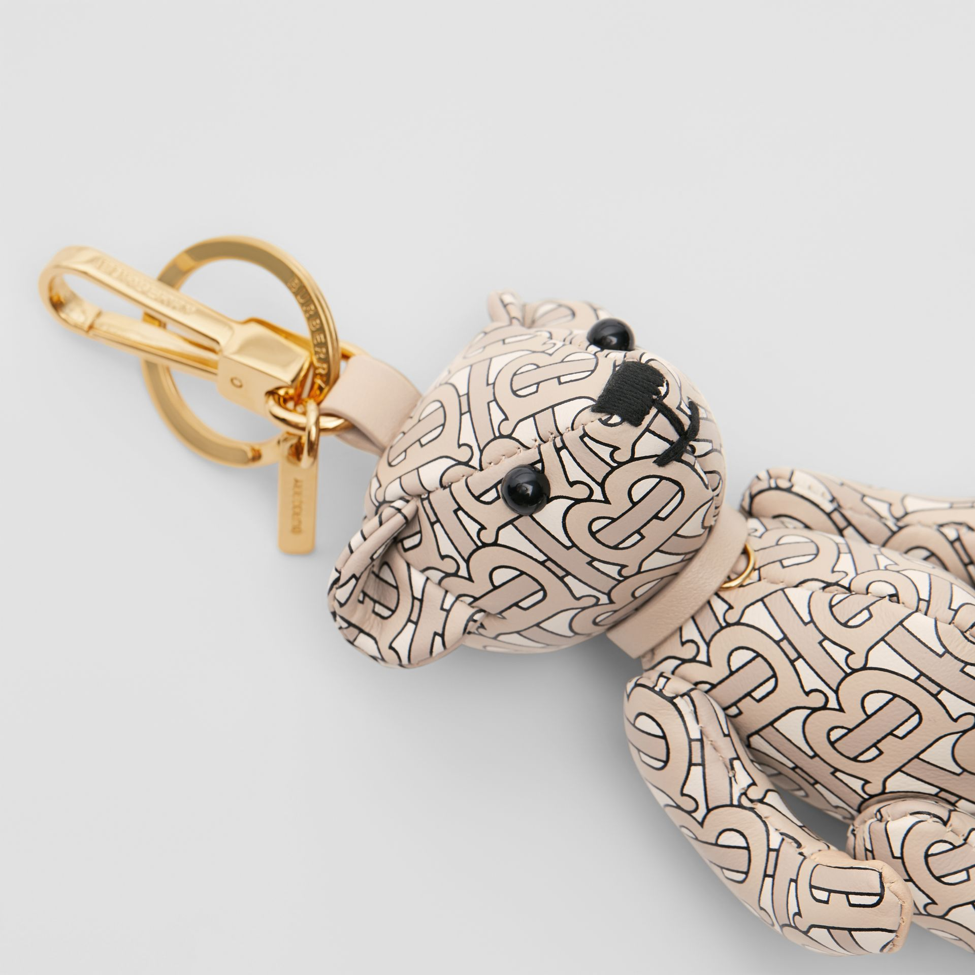 Thomas Bear Charm in Monogram Print Leather in Beige | Burberry - gallery image 1