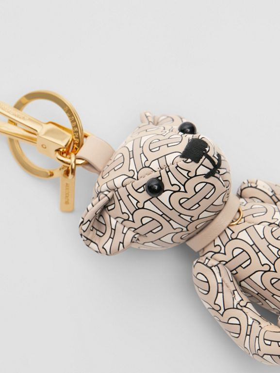 Thomas Bear Charm in Monogram Print Leather in Beige | Burberry - cell image 1