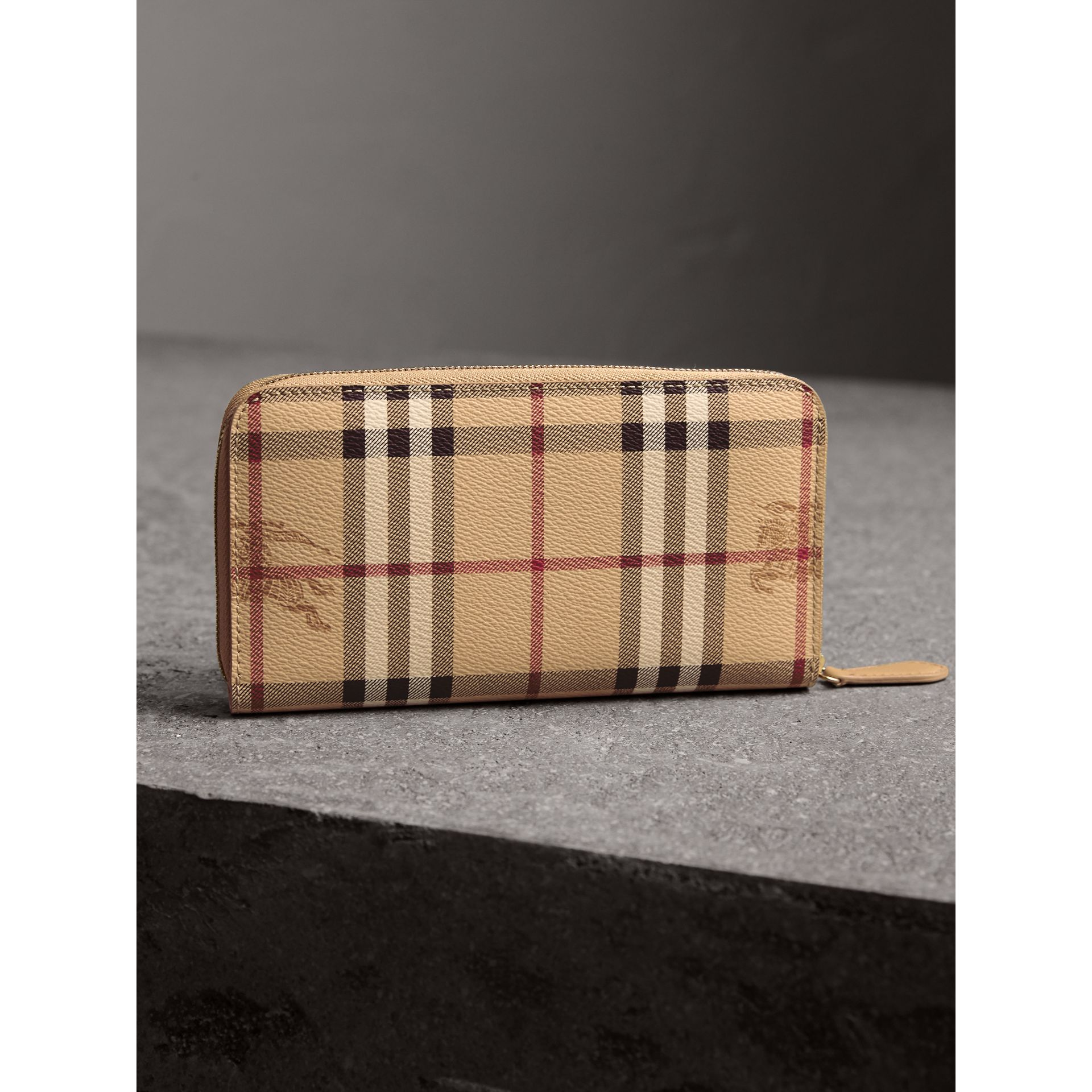 Haymarket Check and Leather Ziparound Wallet in Mid Camel - Women | Burberry Singapore - gallery image 3