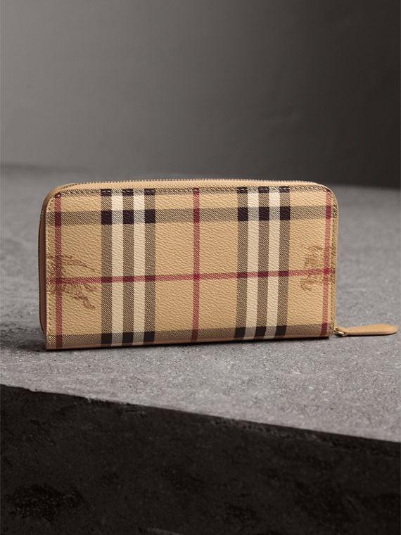 Haymarket Check and Leather Ziparound Wallet in Mid Camel - Women | Burberry United Kingdom - cell image 2