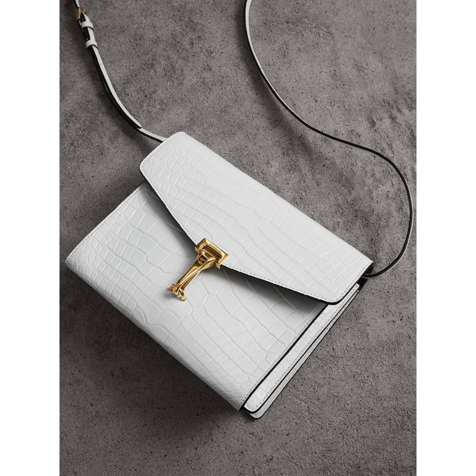 Small Alligator Crossbody Bag in Chalk White - Women | Burberry - gallery image 6