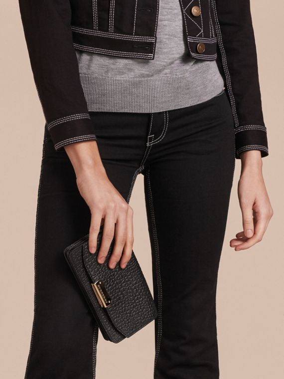 Black Small Signature Grain Leather Clutch Bag with Chain - cell image 3