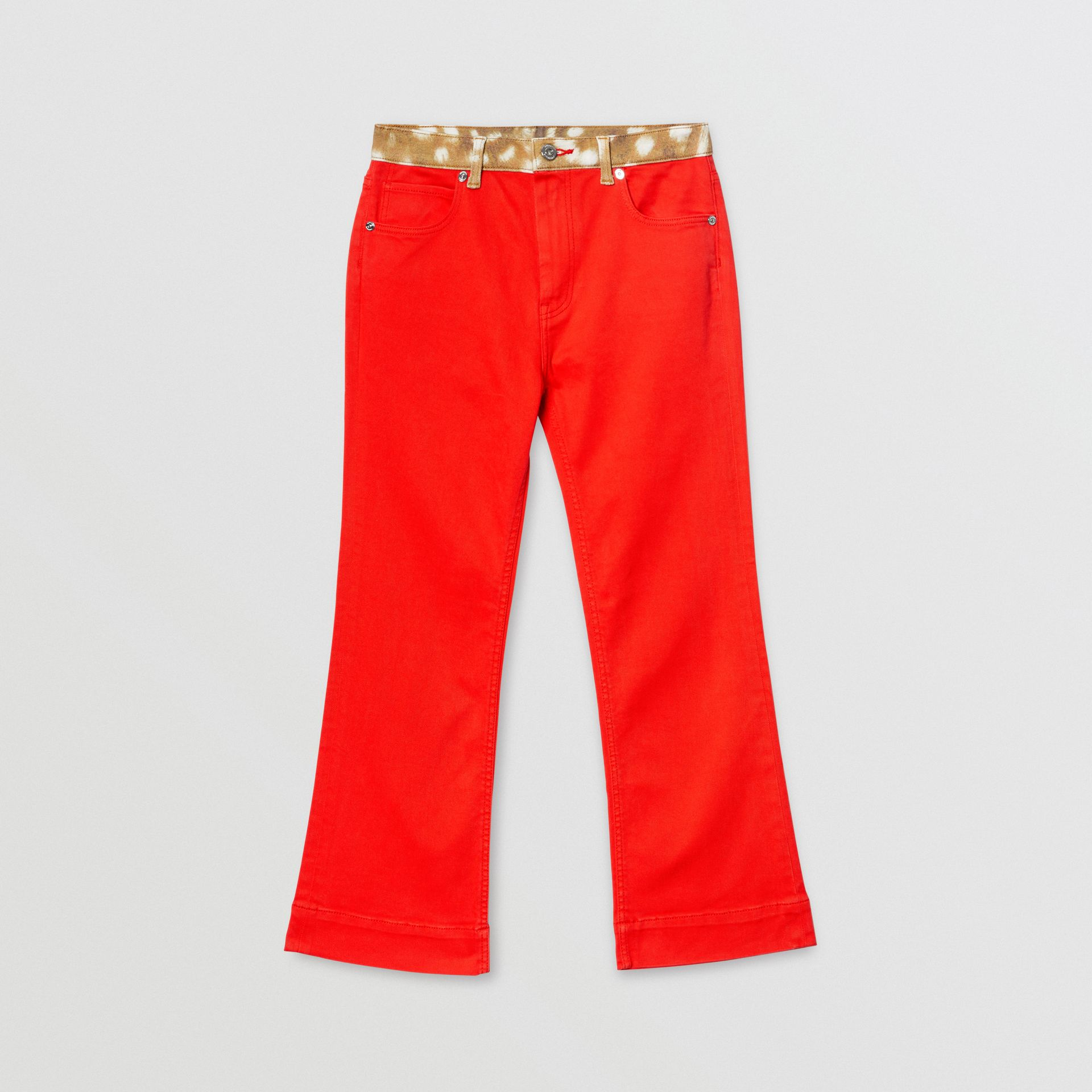 Flared Fit Deer Print Trim Japanese Denim Jeans in Bright Red | Burberry - gallery image 0