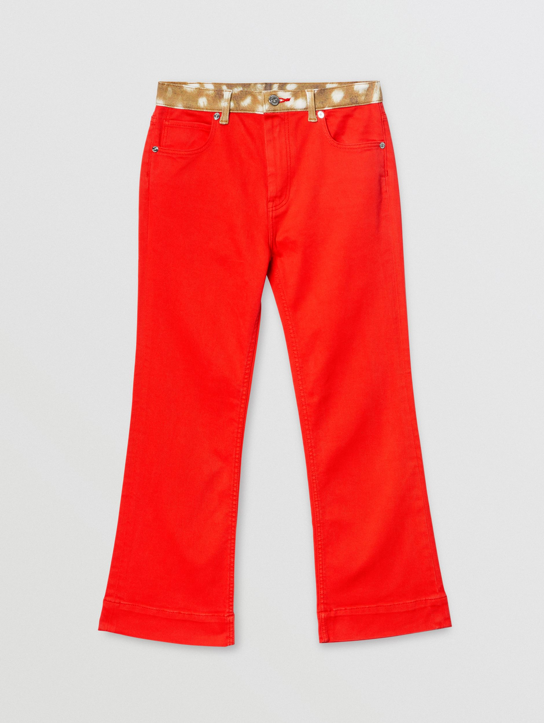 Flared Fit Deer Print Trim Japanese Denim Jeans in Bright Red | Burberry - 1
