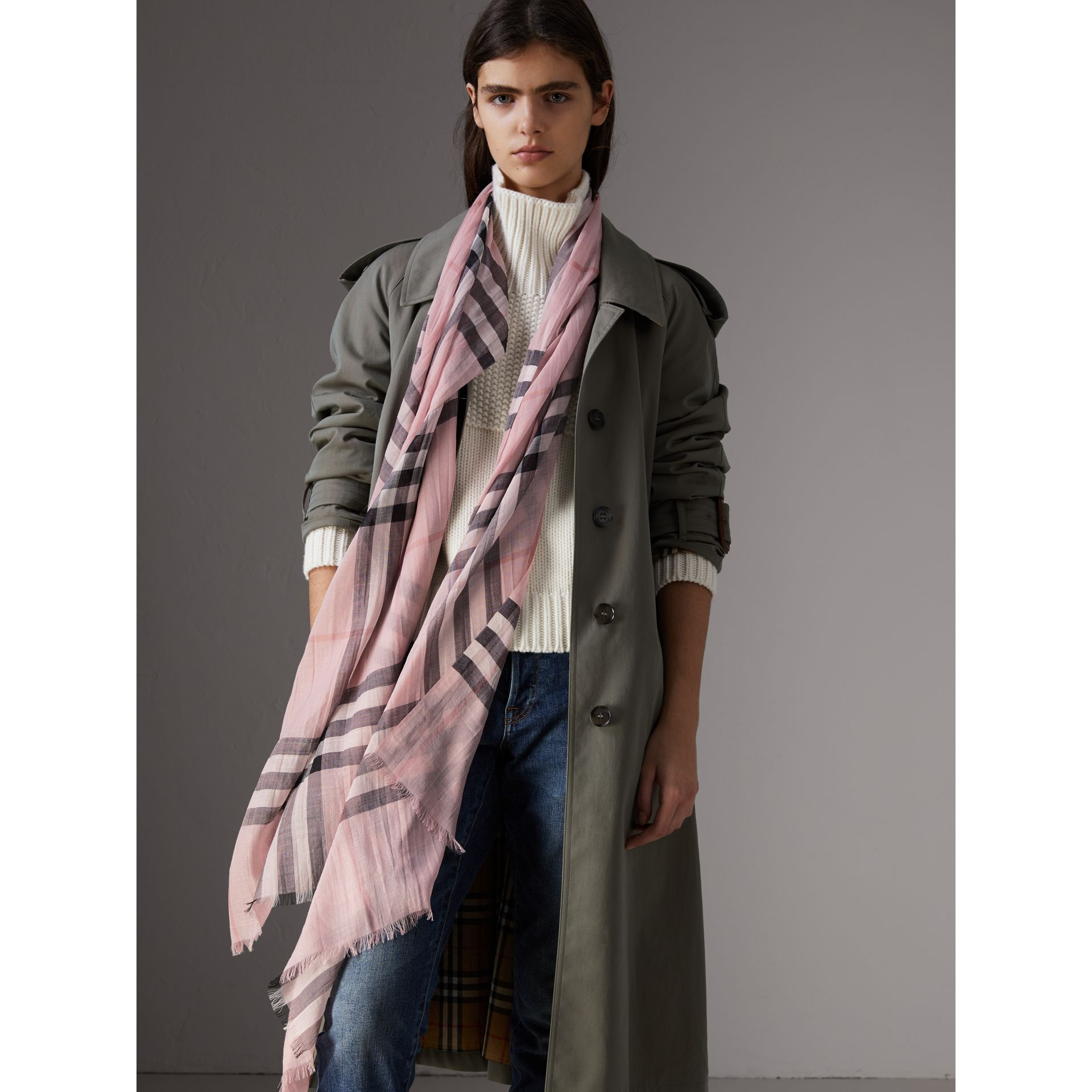 Lightweight Check Wool and Silk Scarf in Ash Rose | Burberry - gallery image 2