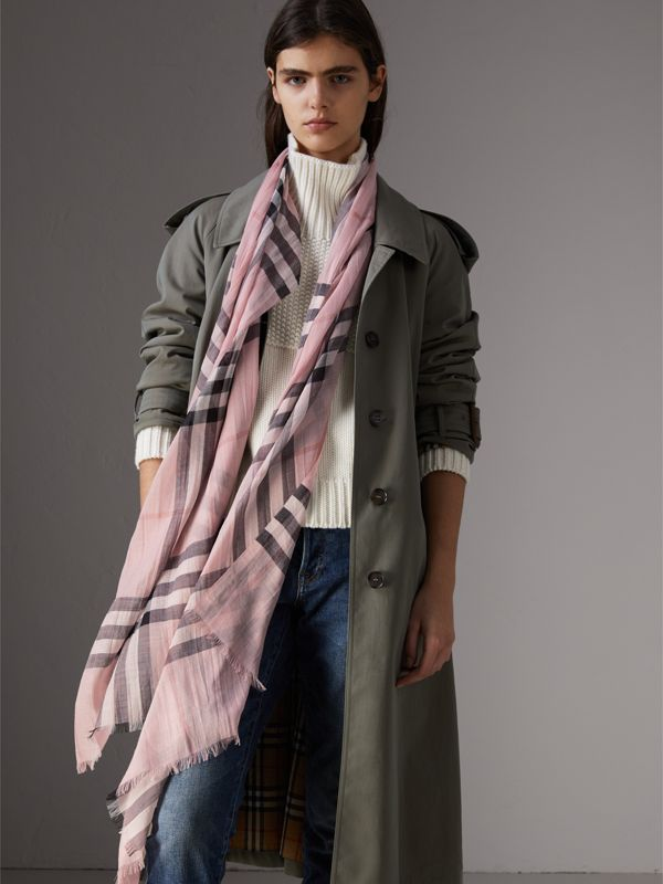 Lightweight Check Wool and Silk Scarf in Ash Rose | Burberry Canada - cell image 2
