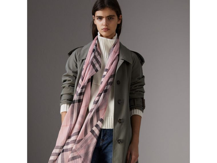 Lightweight Check Wool and Silk Scarf in Ash Rose | Burberry United States - cell image 2