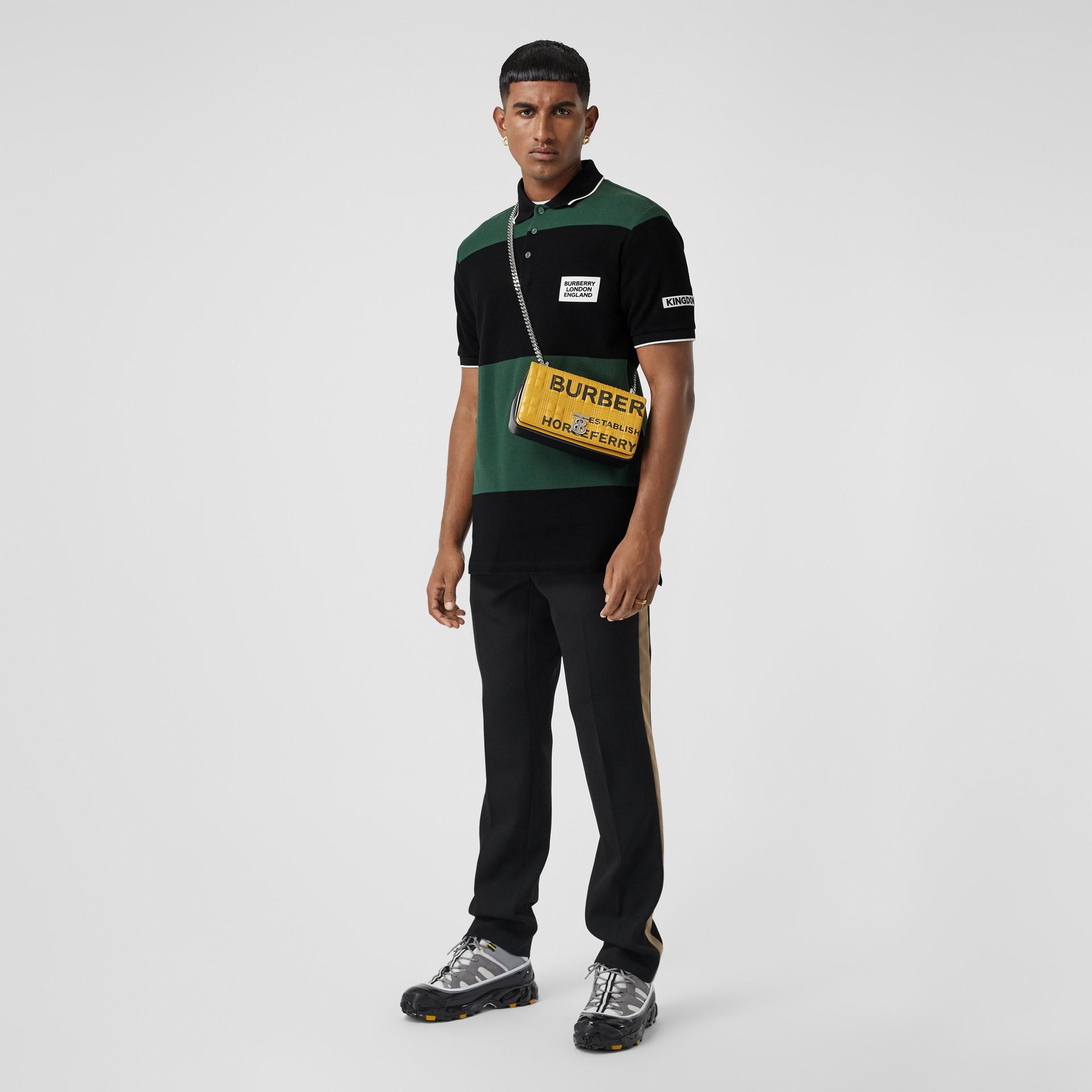 Logo Appliqué Striped Cotton Polo Shirt in Dark Pine Green - Men | Burberry United Kingdom - gallery image 6
