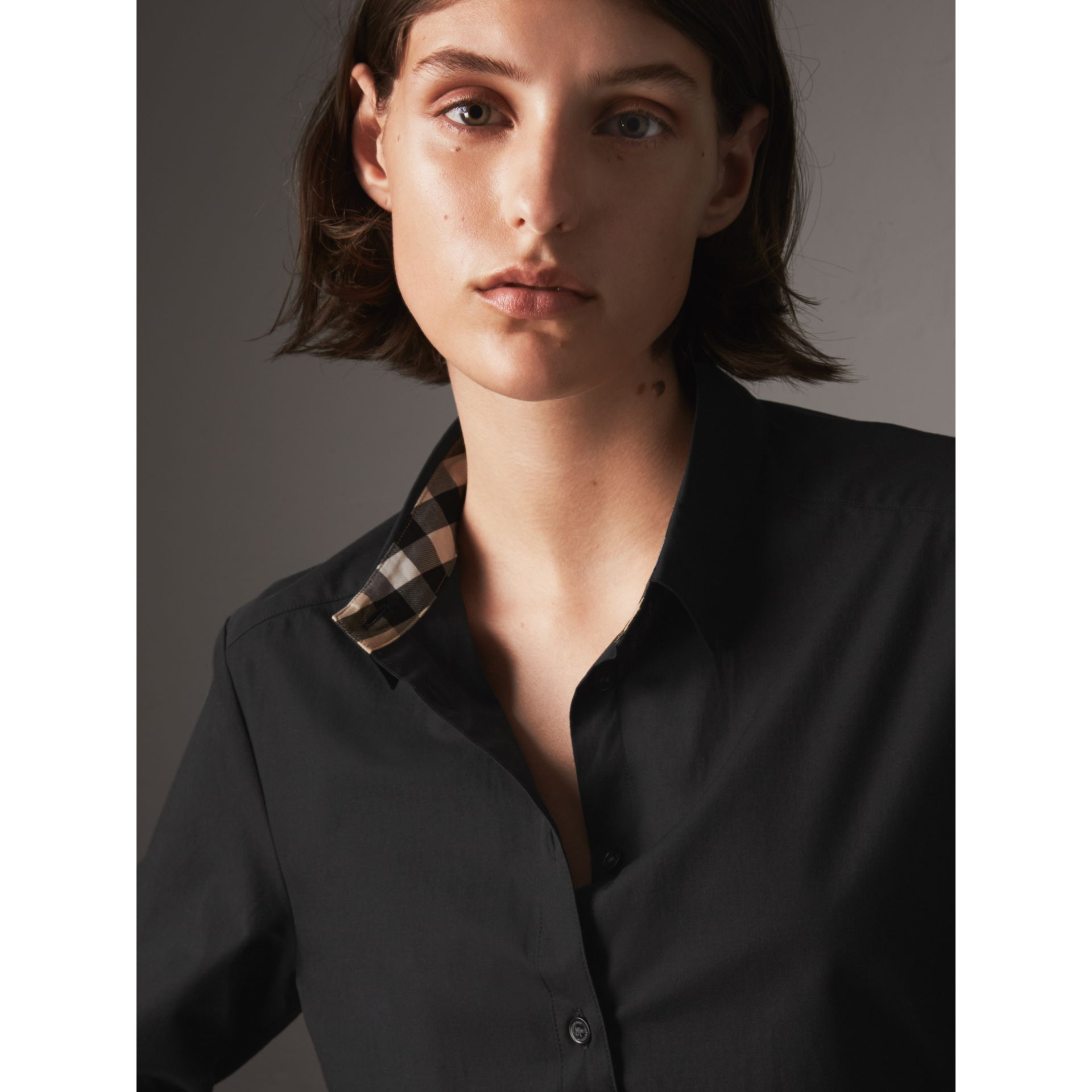 Check Detail Stretch-cotton Shirt - Women | Burberry - gallery image 2