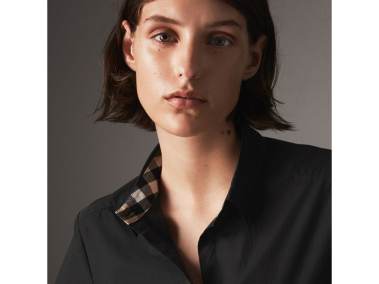 Check Detail Stretch-cotton Shirt - Women | Burberry - cell image 1