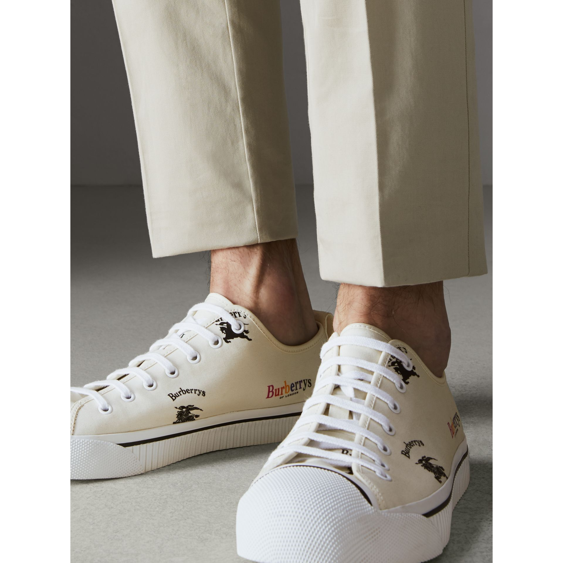 Archive Logo Cotton Gabardine Sneakers in Off White | Burberry - gallery image 2