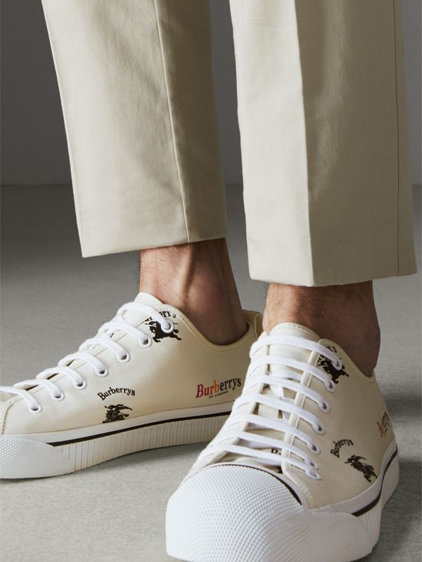 Archive Logo Cotton Gabardine Sneakers in Off White | Burberry Hong Kong - cell image 2