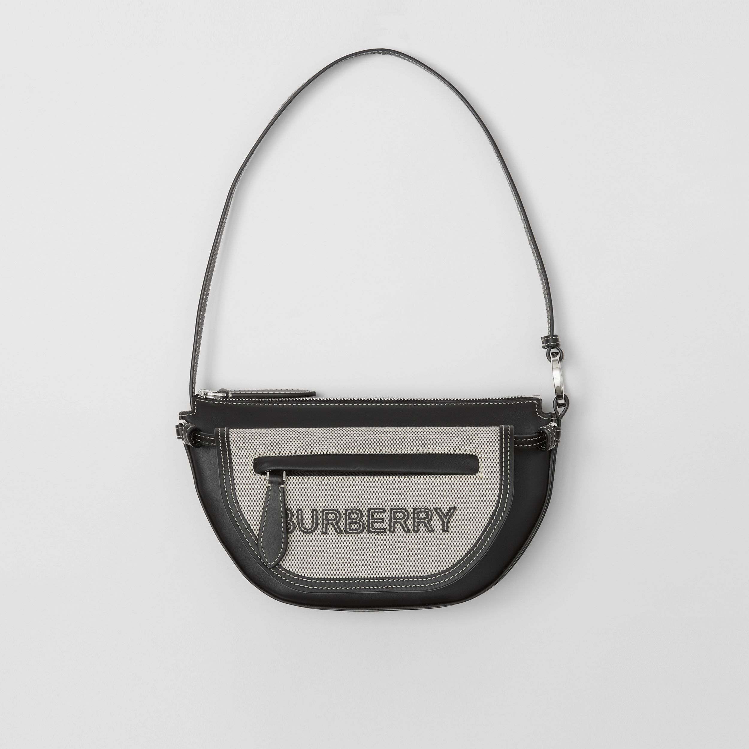 Mini Cotton Canvas and Leather Double Olympia Bag in Black - Women | Burberry Canada - 1