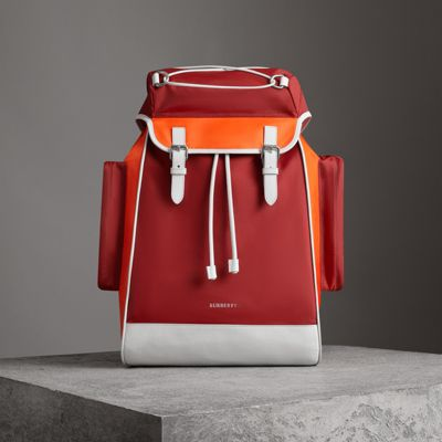 BURBERRY Tri-tone Nylon and Leather Backpack