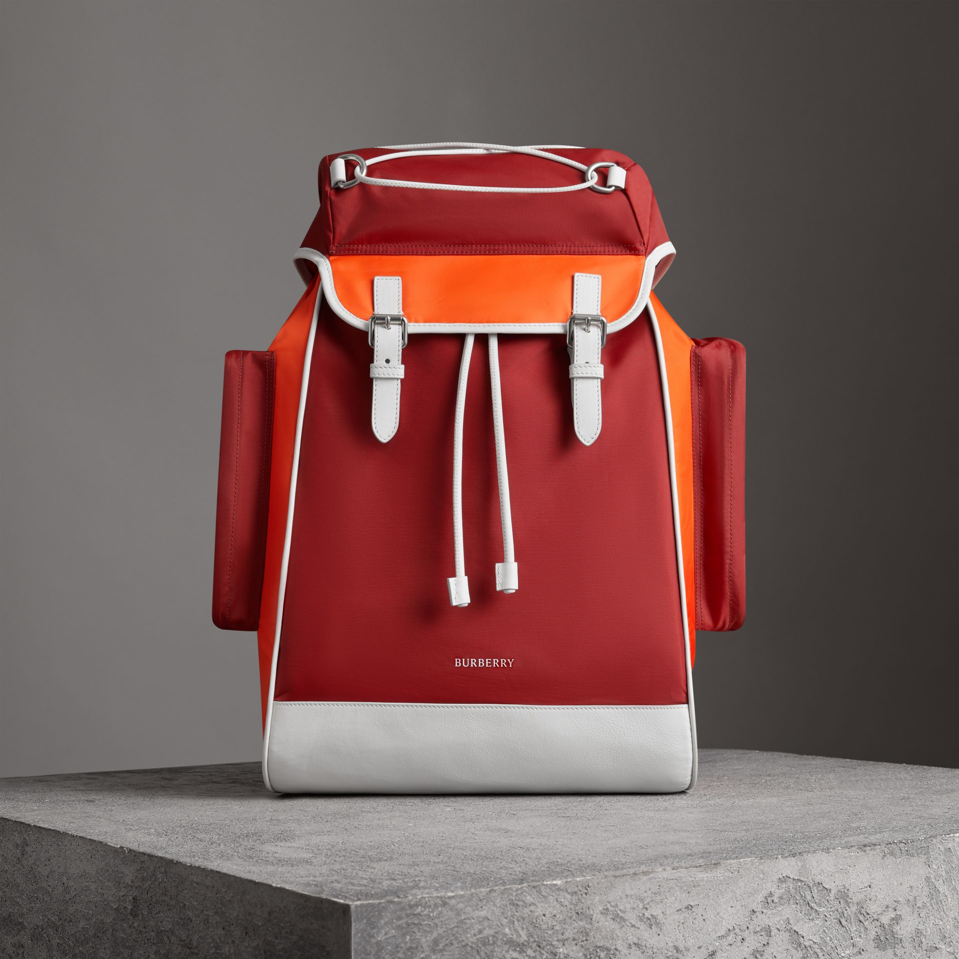 Tri-tone Nylon and Leather Backpack in Parade Red - Men | Burberry Canada - gallery image 0