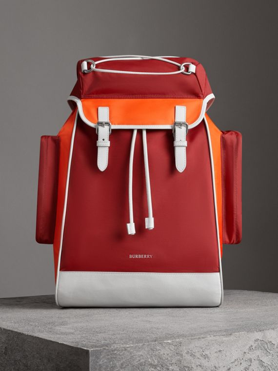 Tri-tone Nylon and Leather Backpack in Parade Red