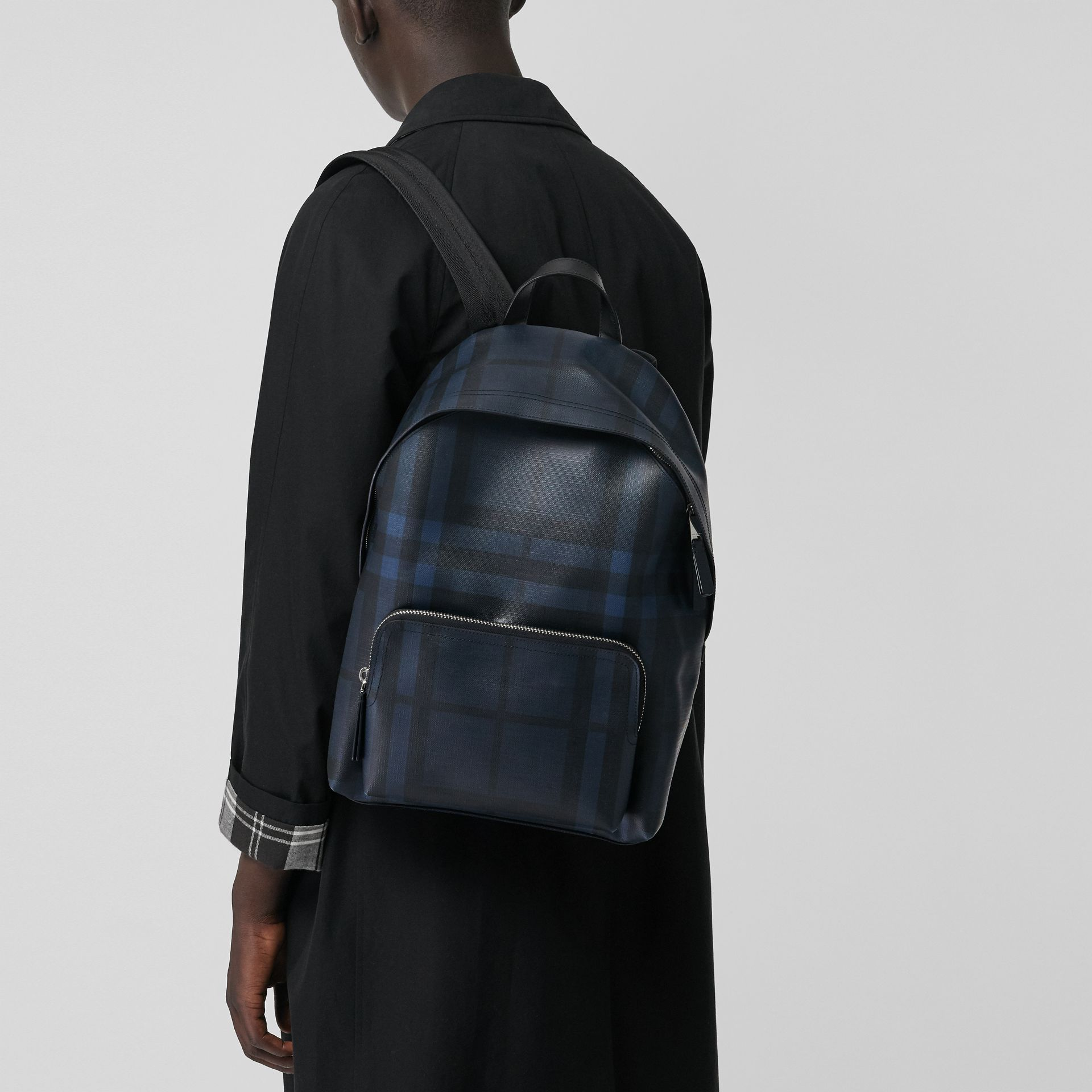 Leather Trim London Check Backpack in Navy/black - Men | Burberry United States - gallery image 3