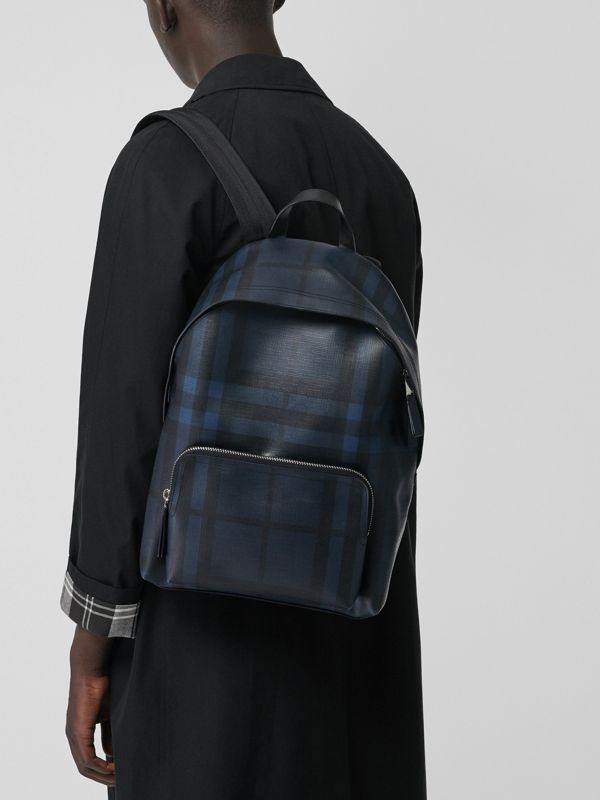 Leather Trim London Check Backpack in Navy/black - Men | Burberry United States - cell image 3