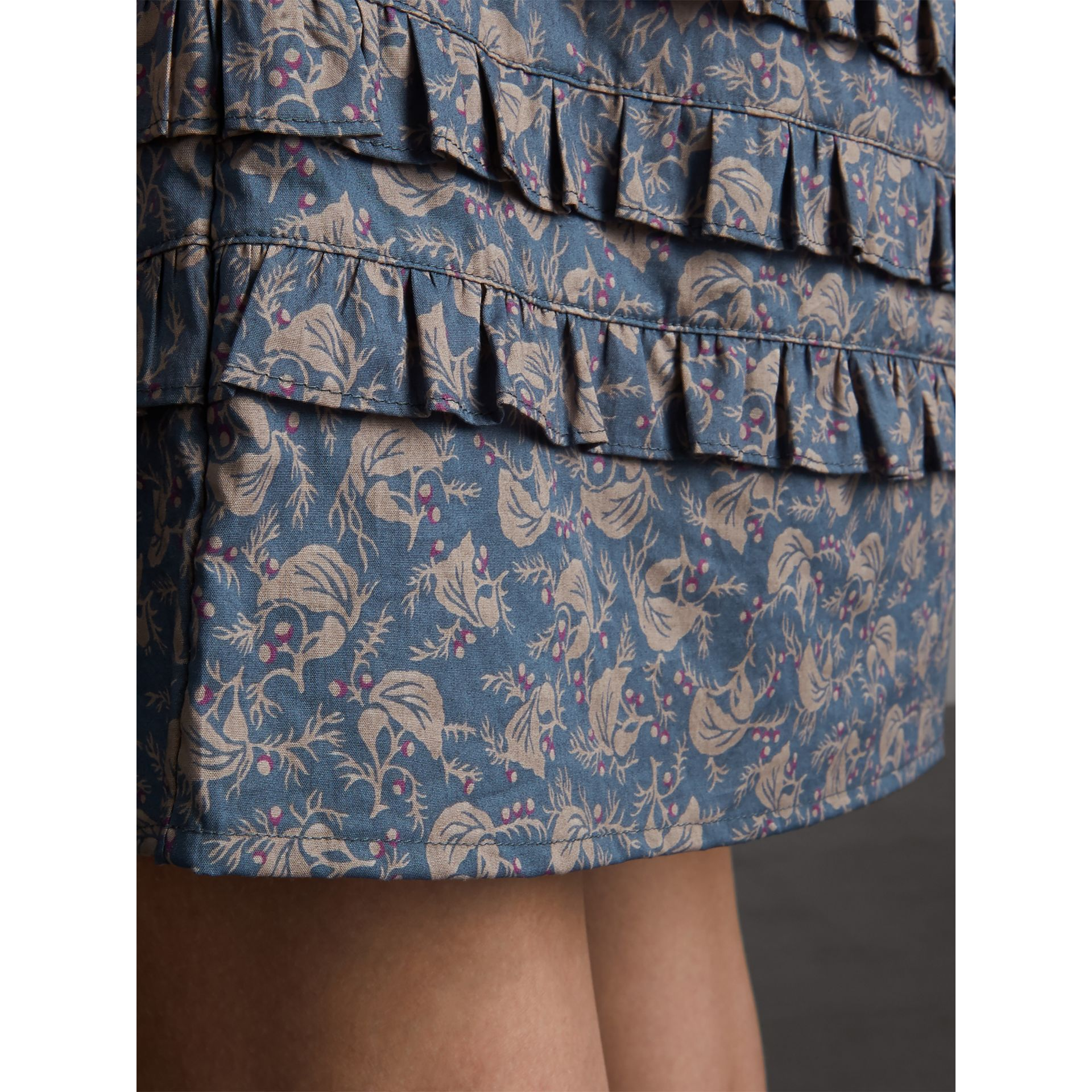 Pintuck Bib Leaf Print Cotton Shirt Dress in Steel Blue - Women | Burberry - gallery image 4