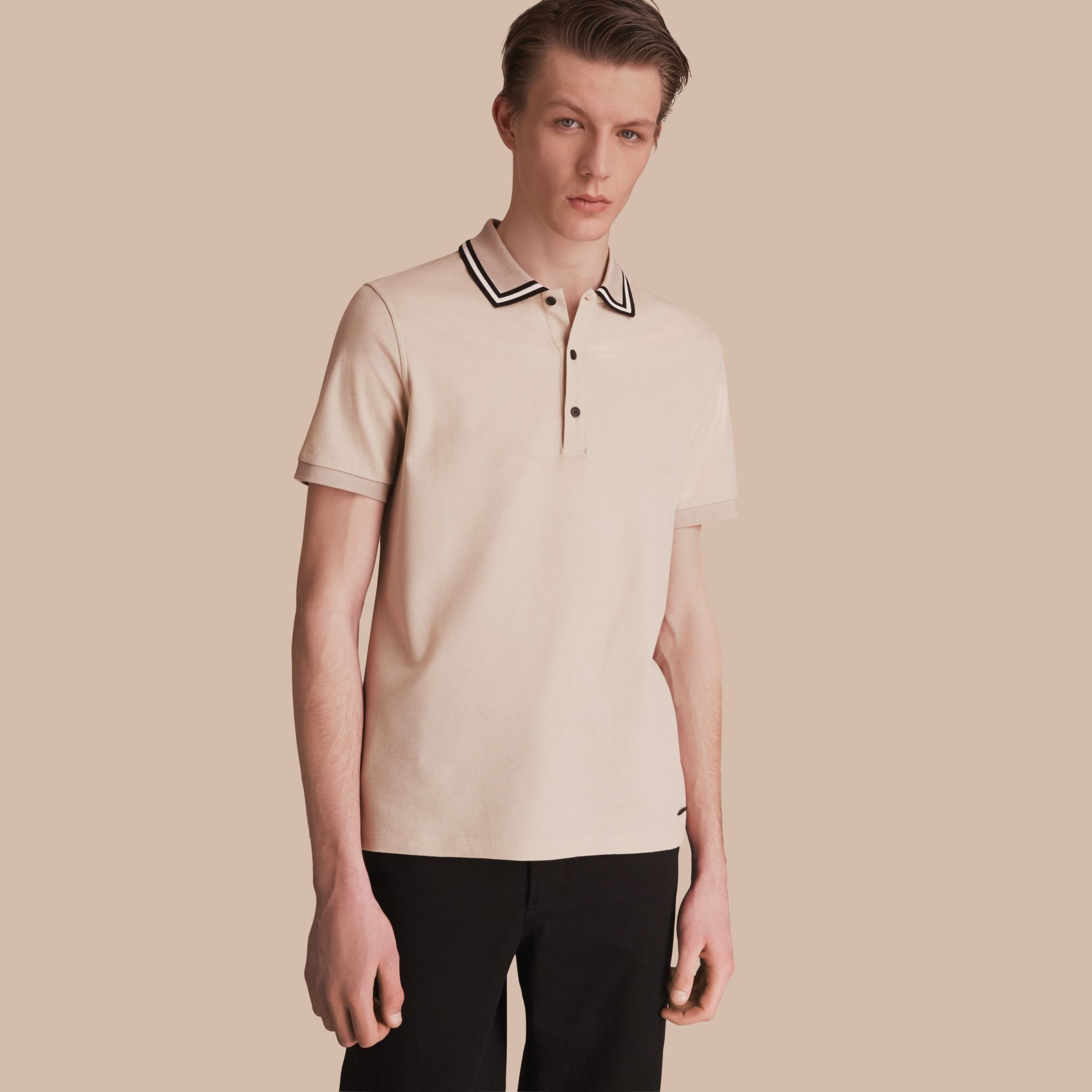 Striped Collar Cotton Piqué Polo Shirt in Stone - Men | Burberry - gallery image 1