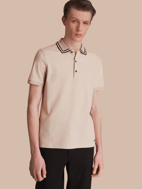 Striped Collar Cotton Piqué Polo Shirt in Stone