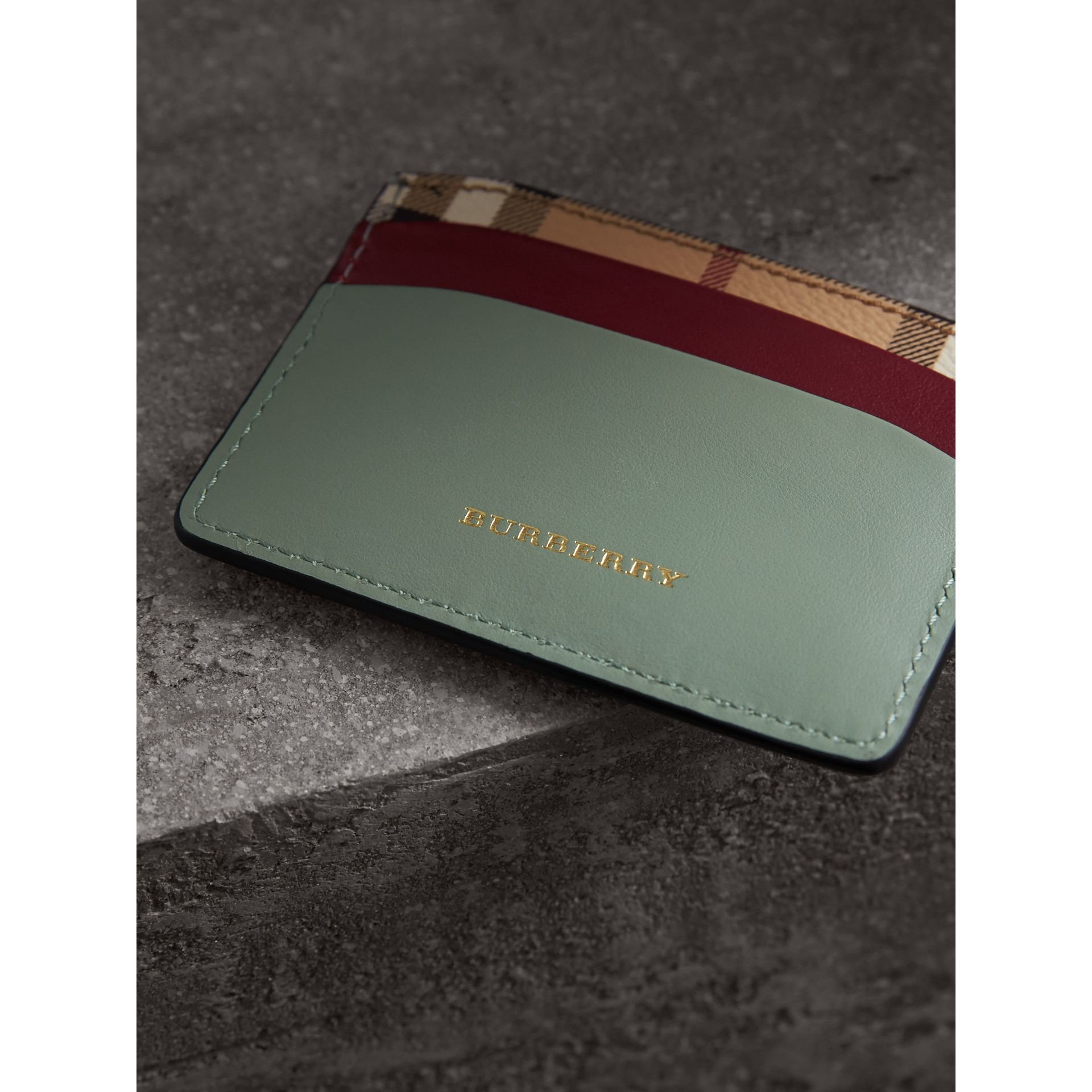 Beasts Motif Haymarket Check and Leather Card Case in Celadon Green - Women | Burberry - gallery image 1