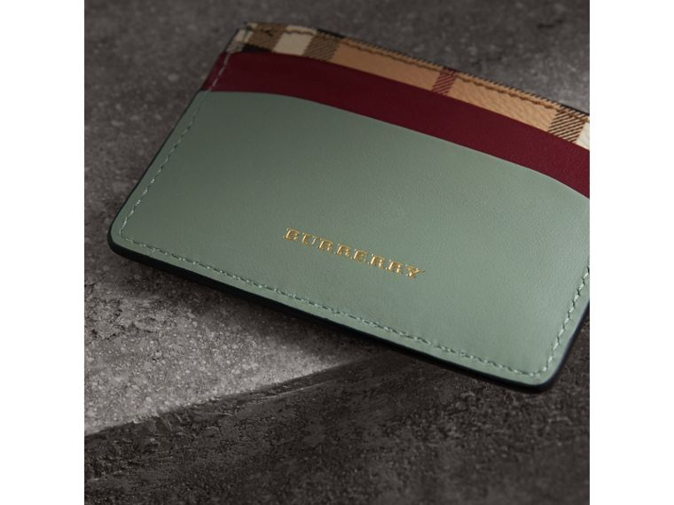 Beasts Motif Haymarket Check and Leather Card Case in Celadon Green - Women | Burberry - cell image 1
