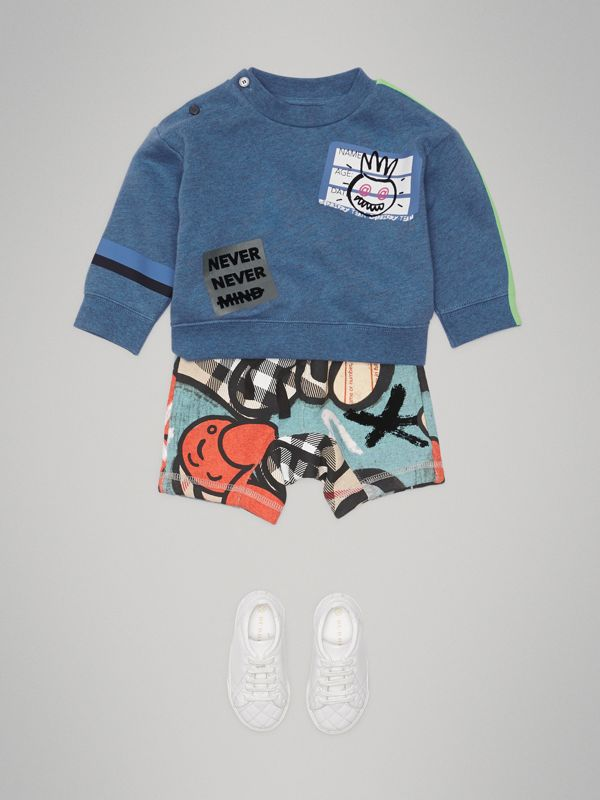 Sticker Print Cotton Sweatshirt in Blue Melange - Children | Burberry - cell image 2