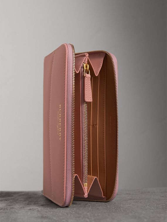 Two-tone Trench Leather Ziparound Wallet in Ash Rose/pale Clementine - Women | Burberry Canada - cell image 3