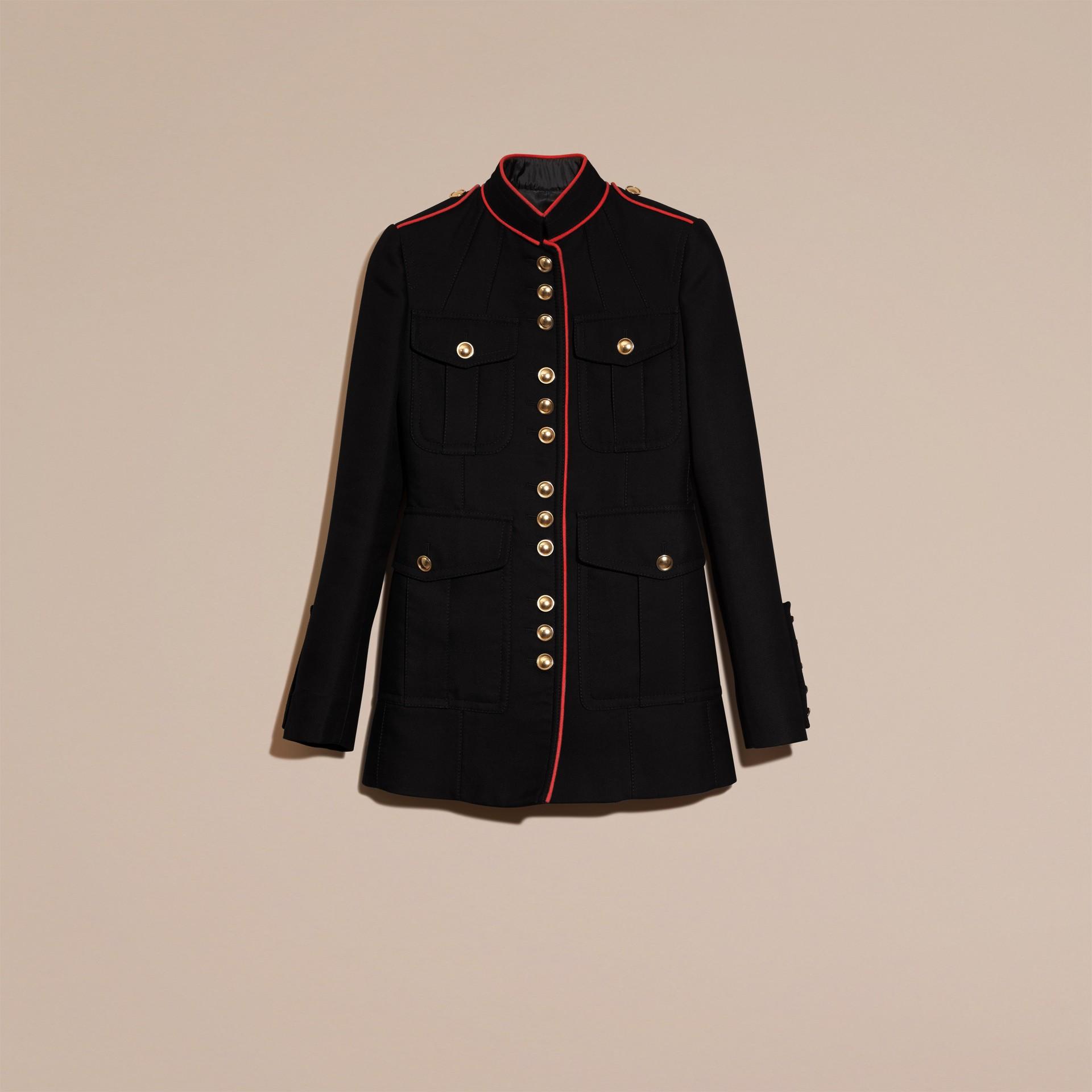 Navy Cotton Silk Regimental Jacket - gallery image 6