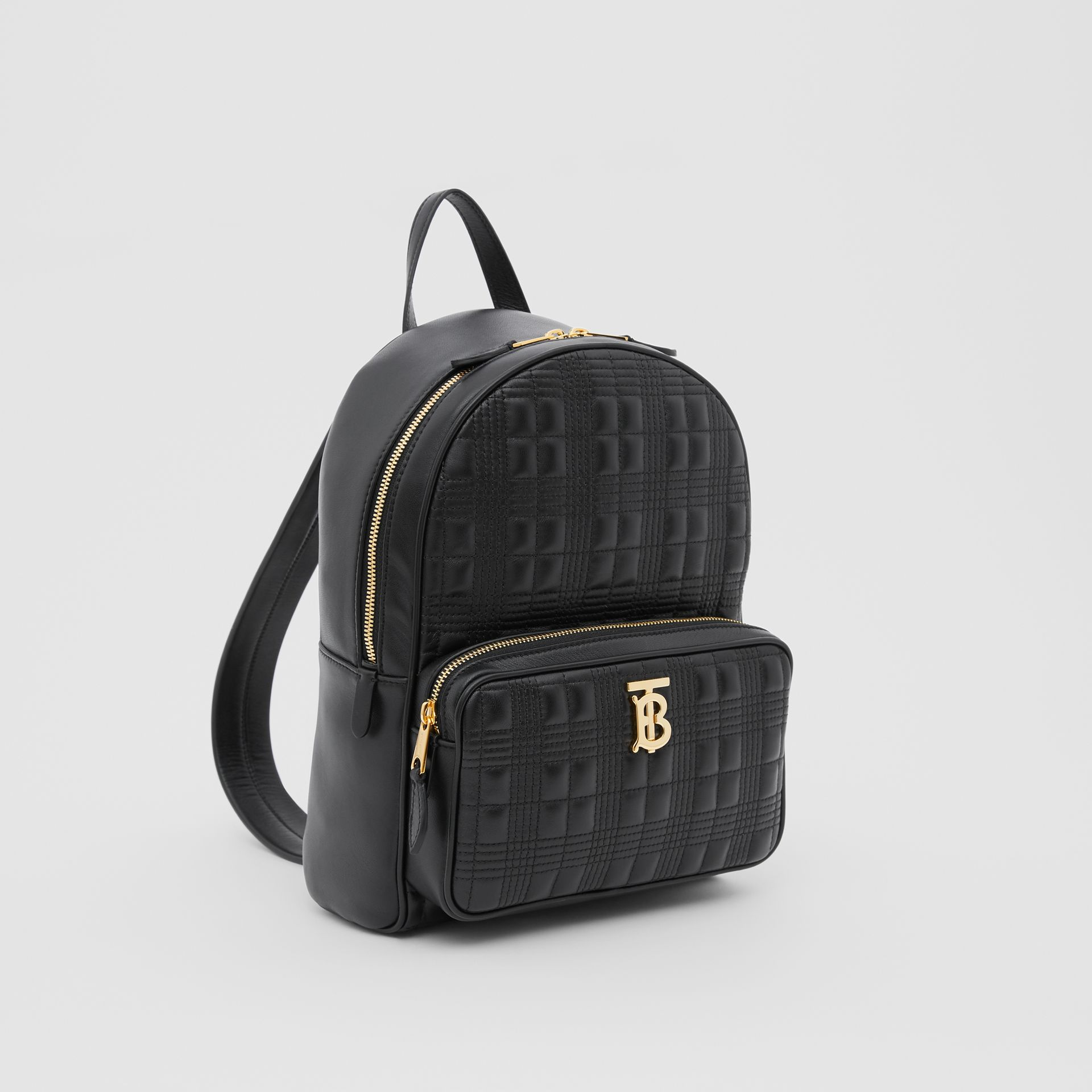 Quilted Check Lambskin Backpack in Black - Women | Burberry - gallery image 4
