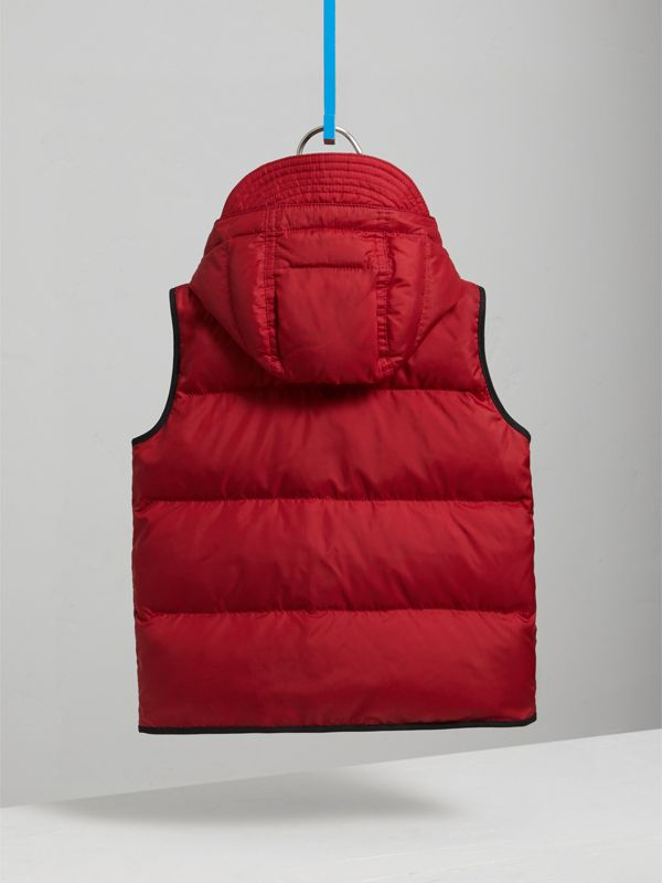 Down-filled Hooded Gilet in Parade Red | Burberry - cell image 3