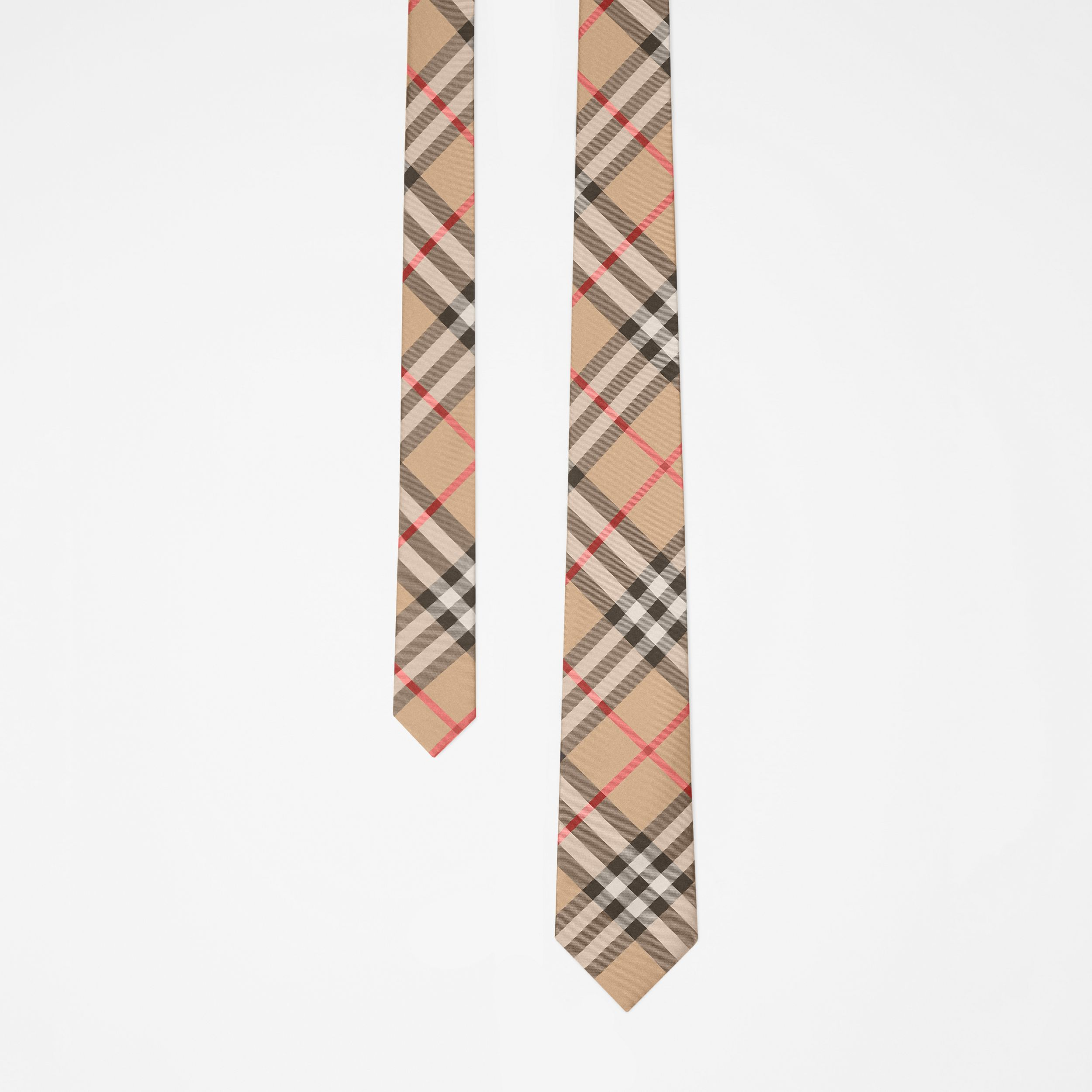 Modern Cut Vintage Check Silk Tie in Archive Beige - Men | Burberry - 1