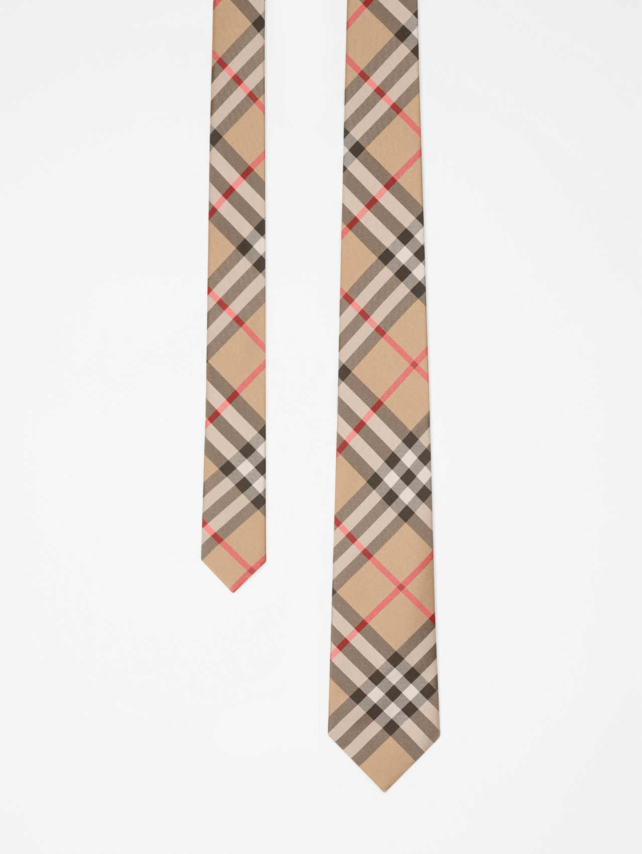 Modern Cut Vintage Check Silk Tie in Archive Beige