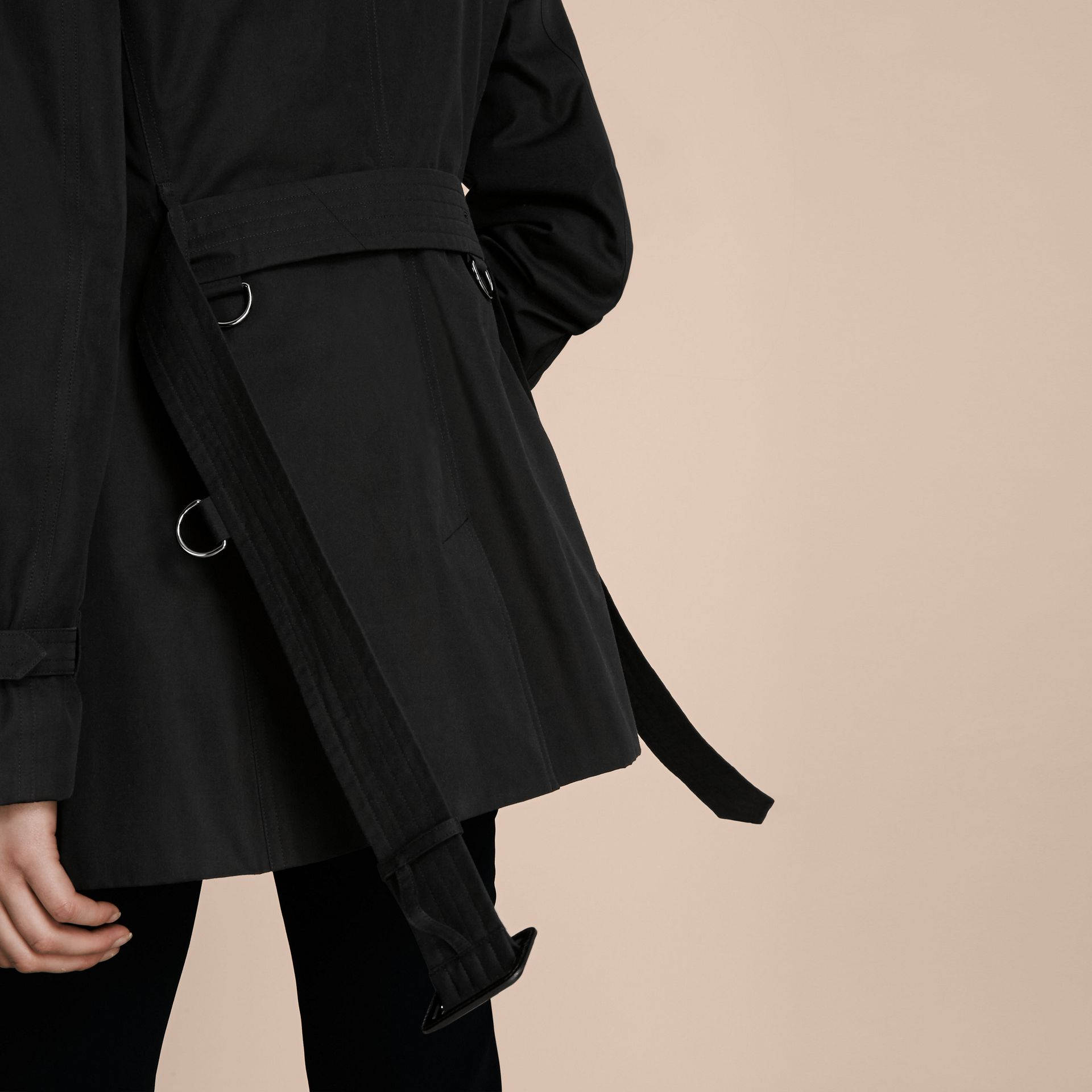 Black The Kensington – Short Heritage Trench Coat Black - gallery image 6